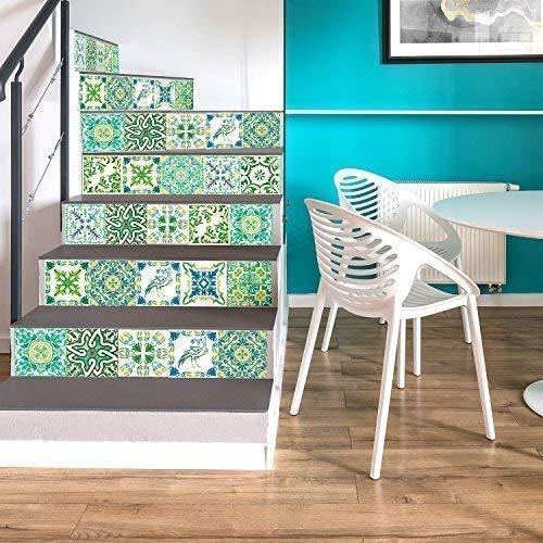WALPLUS 15cm(6') 24 pcs Turkish Green Mosaic Wall Tile Stickers Peel and...
