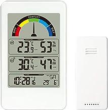 Winbang Termómetro higrómetro Digital, Relojes de monitoreo del Clima Monitor de Humedad Interior y Exterior con indicador de Confort del Aire (Blanco)