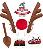 Angooni Upgraded Car Reindeer Antler Kit Christmas Rudolph Auto Decorations, Rudolph Auto Accessories with Tail, Nose - Add Holiday Spirit