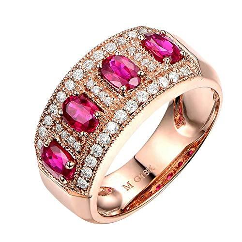 Bishilin Oro Rosa 18K Anillo de Boda Rojo Rubírubí con Incrustaciones de 1.15Ct Y Diamantes de 0.38Ct Rosa Dorado Rojo Anillo de Compromiso Anillo de Matrimonio para Mujer Talla:6,75