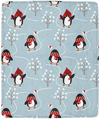 Luancrop Süße Pinguine Spielen Schlittschuh im Weihnachtswinter Superweiche Decke Warme, Elegante, kuschelige Mikrofaserdecke für den Couchbettstuhl