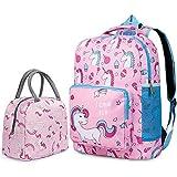 D.sloate Unicorn Backpack Pink School Bookbag For Elementary Kindergarten Student, Preschool Children With Lunch Bag, Standard