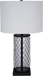 Stone & Beam Wire Cylinder Cage Table Lamp with LED Light Bulb With White Shade- 13 x 22.75 x 13 Inches, Black