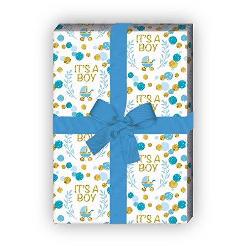 Kartenkaufrausch Fröhliches, hellblaues, Baby Geschenkpapier Set zur Geburt einen Jungen