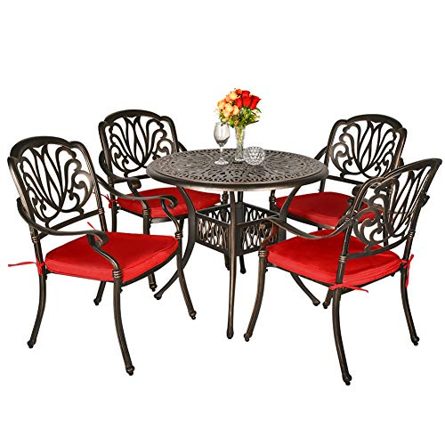 TITIMO 5 Piece All-Weather Cast Aluminum Outdoor Patio Deck Dining Set w/Round Table and 4 Chairs, Red Cushions, Umbrella Hole - Deep Bronze
