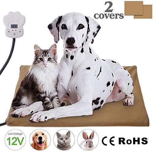 IREGRO Heizmatte Haustiere Heizkissen 15W 12V Kleinspannung mehr sicher Temperatur Einstellbar zwischen 25℃-55℃ Wärmematte Heizdecke für Katzen und Hunde(65 x 40cm)