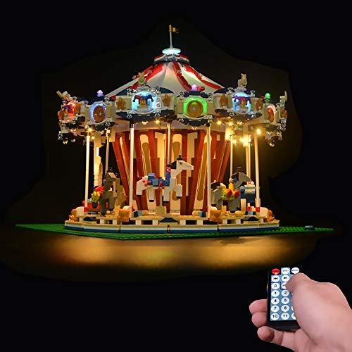 LODIY Upgrade Beleuchtung Licht Led Beleuchtungsset für Lego 10196 Große Karussell (Nicht Enthalten Lego Modell) (Mit Fernbedienung)