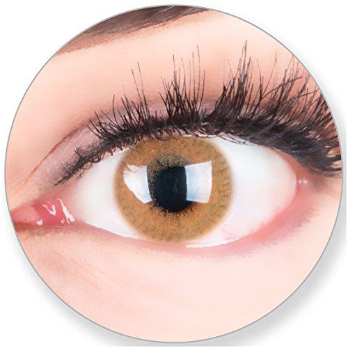 Glamlens Kontaktlinsen farbig braun ohne Stärke - mit Kontaktlinsenbehälter.Sehr stark deckende natürliche braune farbige Monatslinsen Nougatbraun 1 Paar weich Silikon Hydrogel