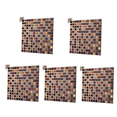 TOPofly Azulejos de Mosaico Pegatinas Pared 3D palillo de Auto Adhesivo Cuadrado de Diseño del Papel Pintado de Brown extraíble para la Cocina 5pcs Backsplash