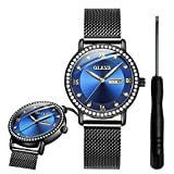 OLEVS Blue Diamond Classic Watches for Women Waterproof Inexpensive Analog Calendar Wrist Watches for Women Ladies Student Gifts Watch