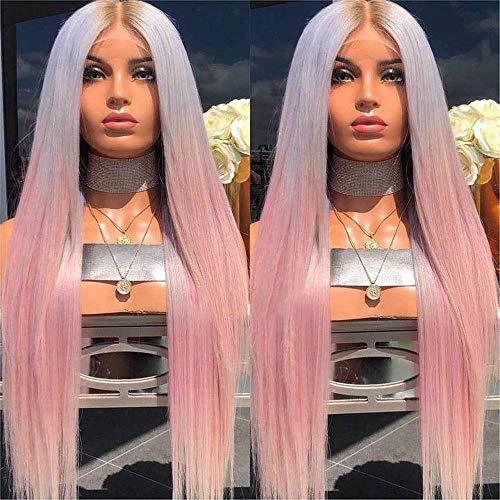 Perruque longue ligne droite longue perruque dégradé de femmes blanchie noir bleu rose dames longue perruque cheveux raides dames