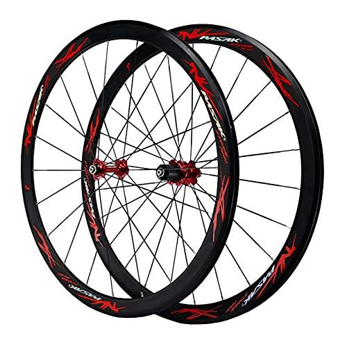TYXTYX Juego de Ruedas para Bicicleta de Carretera 700C, aleación de Aluminio de Doble Pared, 40 mm, Ruedas de Ciclismo, buje de rodamientos sellados con llanta, 24 Orificios para velocidades de 7/
