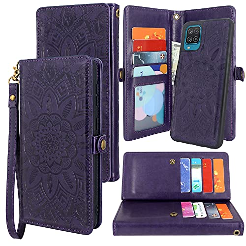 Harryshell Detachable Magnetic 12 Card Slots Wallet Case PU Leather Flip Protective Cover Wrist Strap for Samsung Galaxy A12 5G (Flower Purple)