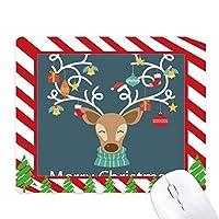 クリスマスエルクギフト松葉杖フェスティバルパターンマウスパッドキャンディーケインラバーパッドクリスマスマット