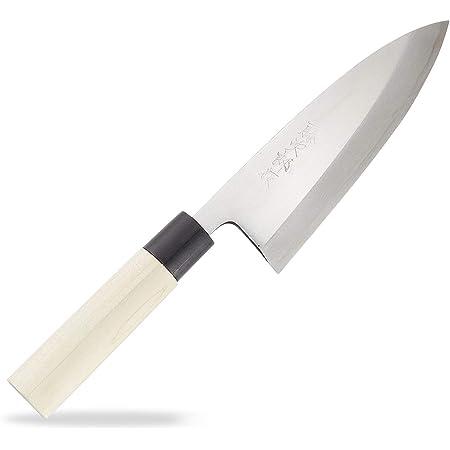 藤次郎 出刃 150mm 日本製 白紙鋼 片刃 荒捌き 魚の頭を落とすなど骨ごと叩き切る使い方にも対応 白紙鋼 樹脂桂柄 F-901