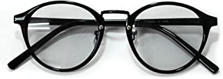 MERRY PLEASURE (メリープレジャー) サングラス メンズ レディース 伊達メガネ ボストン 丸メガネ 丸型 ライトカラーレンズ 薄い色 メンズ レディース UVカット