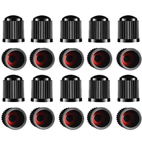 Guang-T - Juego de 20 tapones para válvulas de neumáticos, con junta universal para válvulas de repuesto para coches, bicicletas, camiones, motocicletas | atornillables, de fácil agarre (negro)