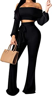 OLUOLIN Womens Sexy Off One Shoulder 2 Pieces Outfit Long Sleeve Wrap Chest Crop Top Wide Leg Long Pants Jumpsuit