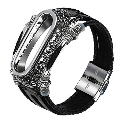 Uhrenarmband Ersatz für Xiaomi Mi Band 4 Armband Vintage Ersatz Leder Sport Armband Uhrenarmband Band Strap + Metallgehäuse Ersatzband Replacement für Männer Frauen Ersatzarmbänder (Schwarz)