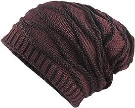 CUCUHAM Men's Thicken Warm Knit Beanie Crochet Winter Knit Skull Slouchy Caps Hat