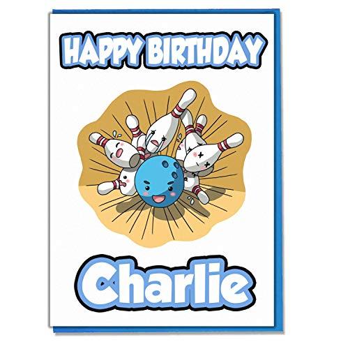 AK Giftshop Geburtstagskarte mit Bowling-Motiv, personalisierbar