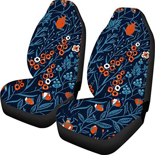 BONRI Funda de asiento de coche de ajuste universal, duradera, funda protectora de asiento de auto Drive, antideslizante, paquete de 2 para mujeres-floral 2