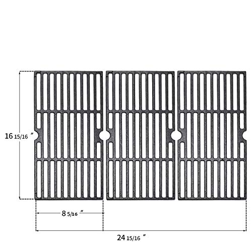 """N / A [3 Units] 16 15/16"""" Cast Iron Grill Grate Cooking Replacement for Charbroil Advantage 463343015, 463344015, 463344116,Kenmore Gas Grill G467-0002-W1 Grates Grids"""