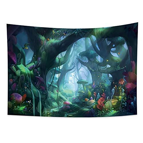 Miueapera Tapiz de hongos Tapiz de tierra mágica Tapiz de bosque mágico Tapiz para niños Tapiz de pared Trippy Hangnig Sala de fiestas Bosque de hongos Cortina de estudio Tapiz de fantasía 150x100cm