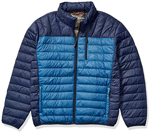 Hawke & Co Men's Lightweight Packable Down Jacket | Rain and Wind Resistant Shell and Hidden Hood, Blue Print, Medium