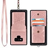 Harryshell Wallet Leather Case Cover [ 4-5 Cards ] ID Credit Card Slot Holder Pocket with Detachable Necklace Neck Lanyard Strap Chain for Samsung Galaxy Note 9 Floral Flower (Rose Gold)