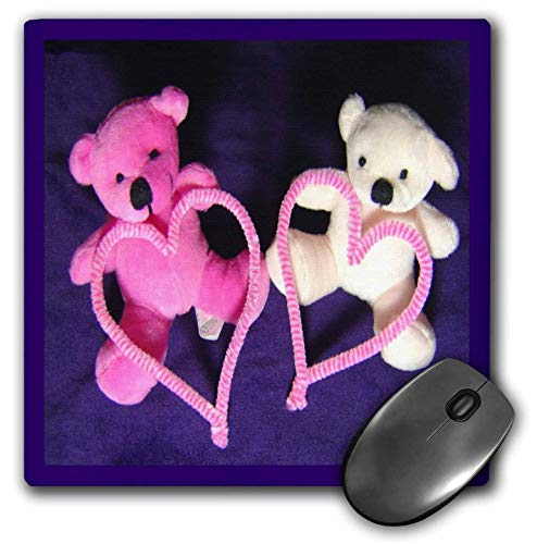 3dRose Sandy Mertens Valentine Designs - Pink and White Teddy Bears Holding Hearts Made Craft Pipe Cleaners - Mousepad (mp_76756_1)