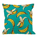 HGOD DESIGNS Banana Pillow Covers,Decorative Throw Pillow Banana Fruit Pattern Sketch Style Pillow cases Cotton Linen Outdoor Indoor Square Cushion Covers For Home Sofa couch 18x18 inch Blue Yellow