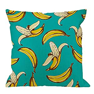 HGOD DESIGNS Banana Pillow Covers,Decorative Throw Pillow Banana Fruit Pattern Sketch Style Pillow cases Cotton Linen…
