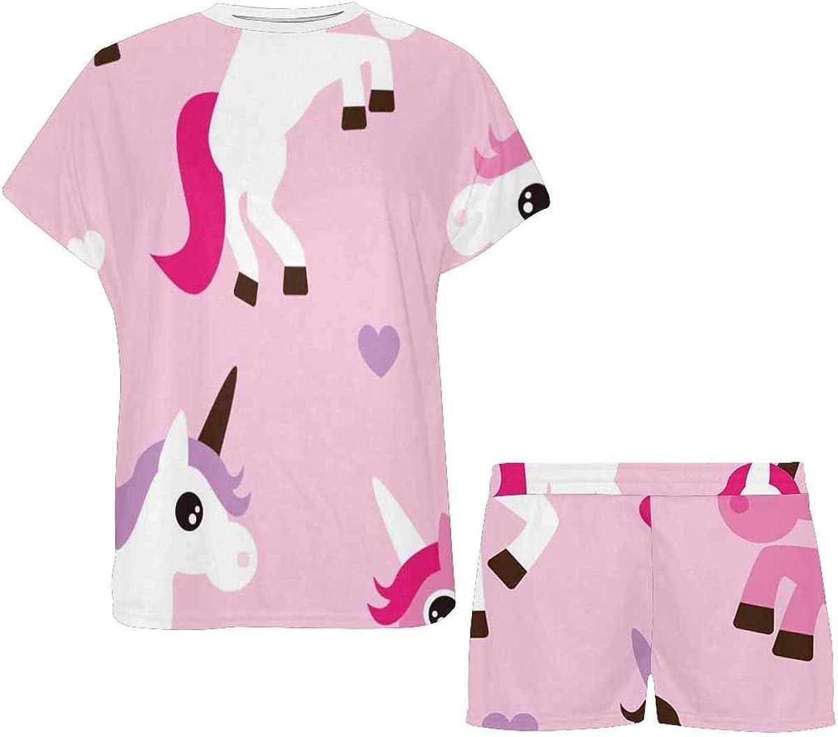 INTERESTPRINT Pink White Unicorn Pattern Women Sleepwear Short Sleeves Pajama Sets