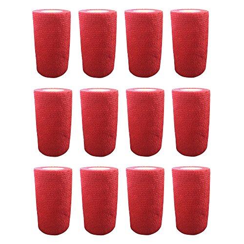 Haftbandage–12Rollen x 10cm x 4,5m, Erste Hilfe, Sport, Bandagen, COBOX Tierarztverband selbstklebende Bandagen, rot