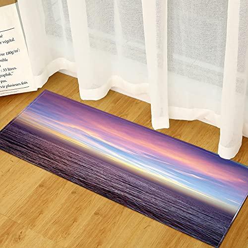 OPLJ Hogar Sala de Estar Dormitorio impresión 3D mar Playa Paisaje Felpudo, Cocina baño Alfombra Absorbente Antideslizante Felpudo A14...