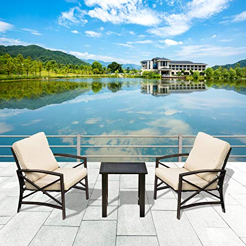 LOKATSE HOME 3 Piece Outdoor Set Chairs Cushioned Patio Chairs Set Metal Patio Bistro Furniture Set with Coffee Table (Khaki)