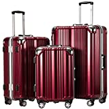 Coolife Luggage Aluminium Frame Suitcase 3 Piece Set with TSA Lock 100% PC