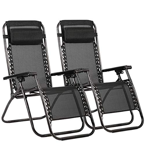 FDW Zero Gravity Chair Patio Lounge Recliners Adjustable Folding Set of 2 for Pool Side Outdoor Yard Beach, Black (Renewed)