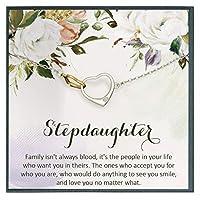 ステップドーターギフトアイデア お嬢様ギフトブレスレット ブレンドされた家族 義理の言葉 カード 他のママから花嫁の娘
