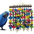 Deloky Large Bird Parrot Chewing Toy - Multicolored Natural Wooden Blocks Bird Parrot Tearing Toys Suggested for Large Macaws cokatoos,African Grey and a Variety of Amazon Parrots