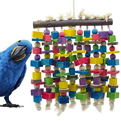 Delokey Large Bird Parrot Chewing Toy - Multicolored Natural Wooden Blocks Bird Parrot Tearing Toys Suggested for Large Macaws cokatoos,African Grey and a Variety of Amazon Parrots(15.7' X 9.8')