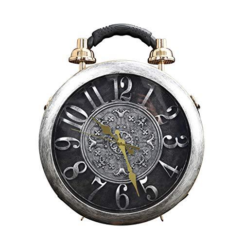 1611/5000 Orologio da donna funzionante reale orologio da lavoro elegante tote classico tondo etro borsa vintage pochette spalla borsa stile SteamPunk (gray)