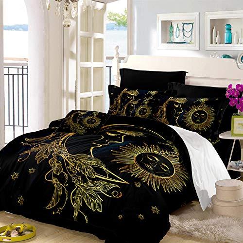 Bedclothes-Blanket Funda de edredón, Cubierta de Luna y lecho Estrella, Que Incluyen: Cubierta de edredón Extra Grande y Fundas de Almohadas 2X-2_220 * 240 cm