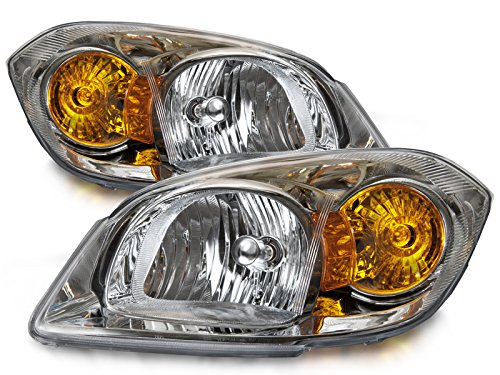 HEADLIGHTSDEPOT Chrome Housing Halogen Headlights Compatible With Chevrolet Cobalt 2005-2010 Includes Left Driver and Right Passenger Side Headlamps
