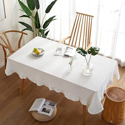 Mantel Moderno Y Simple De Color Sólido Algodón Lavado Algodón Hit Color con Volantes Tapete De Mesa Multifuncional Mantel De Mesa De Café