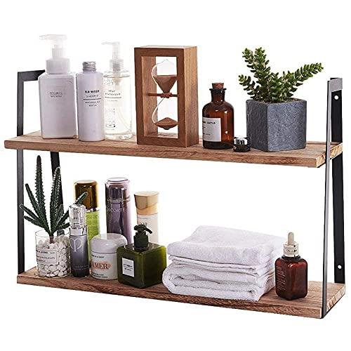 DGDF Estantes flotantes de madera, rústicos de 2 niveles para montar en la pared, moderna estantería rústica, para dormitorio, cocina, sala de estar, baño