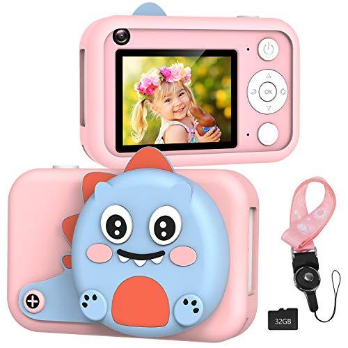 XDDIAS KinderKamera, Digitale Kamera mit 32G SD Karte, USB Wiederaufladbare Fotokamera Selfie und Videokamera, Spielzeug Camcorder für Jungen Mädchen Kinder Geschenke - Rosa