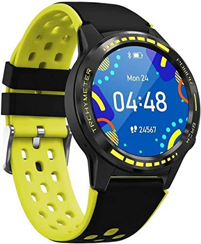 Reloj inteligente GPS para hombre con tarjeta SIM Monitor de ritmo cardíaco, reloj deportivo para Android iOS uso diario, amarillo