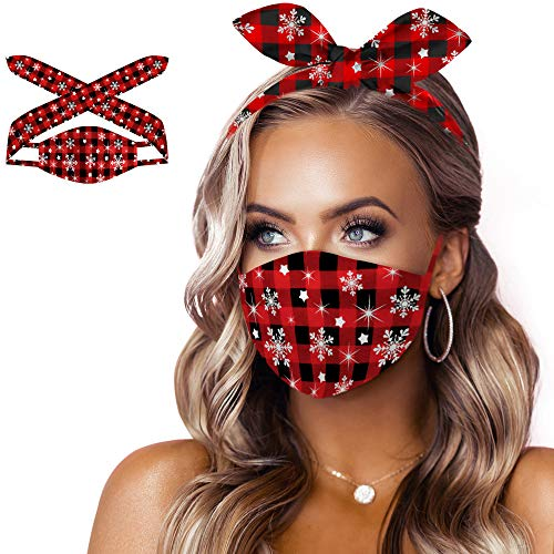 3 in 1 Cloth Face Mask with Self-tie Loops Reusable Washable Headband Bandanas for Women(Floral 1)
